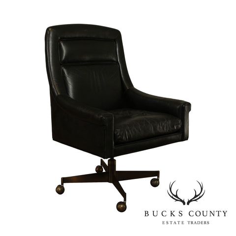 John Stuart Mid Century Modern Black Leather & Bronzed Steel Desk Chair