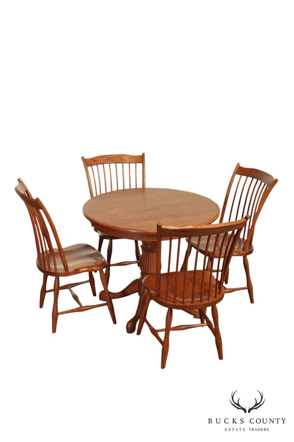 Trailway Wood Hand Crafted Round Oak Table and 4 Chairs Dining Set