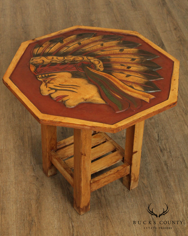 Vintage Carved Native American Indian Chief Taboret Side Table