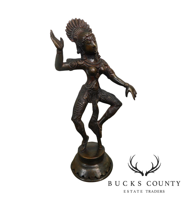 Dancing Parvati Cast Brass Figure Sculpture Standing on Lotus Blossom