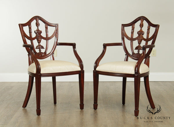 Maitland Smith Hepplewhite Style Mahogany Pair Shield Back Armchairs