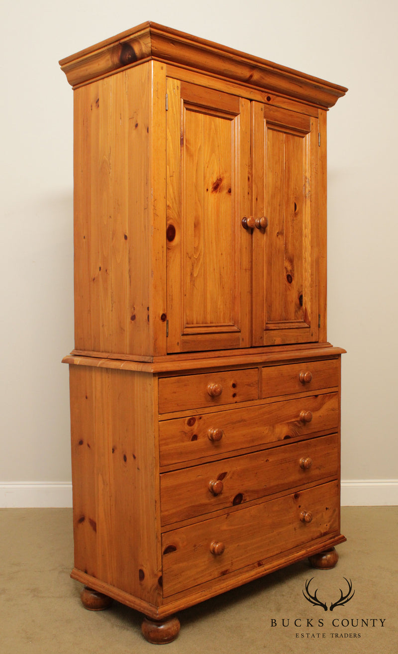 Ethan Allen Farmhouse Pine Collection Armoire Cabinet with Drawers