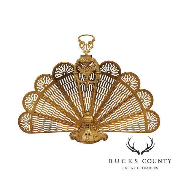 Quality Brass Peacock Fan Folding Fireplace Screen