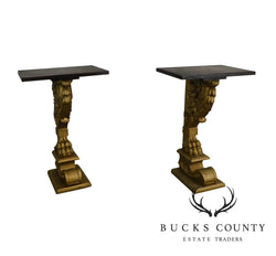 Renaissance Revival Antique Pair Carved Oak Lions Foot Gilt Carved Stands