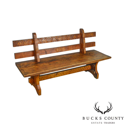 Antique Rustic Arts & Crafts Bench Settee