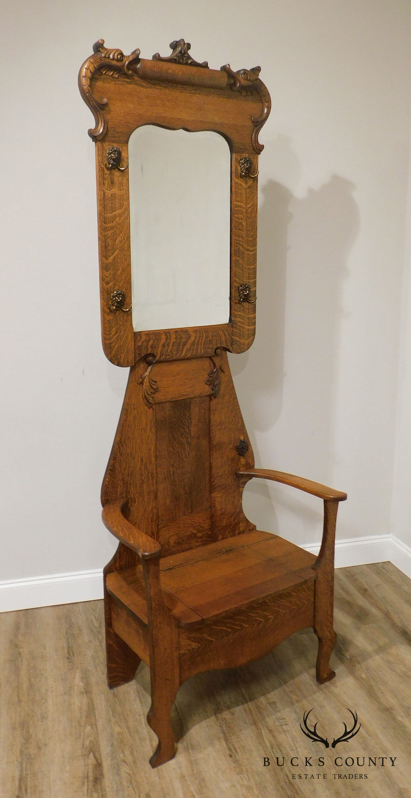 Antique Victorian Oak Mirror Back Hall Seat