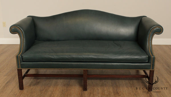 Kittinger Colonial Williamsburg Mahogany Chippendale Style Green Leather Sofa