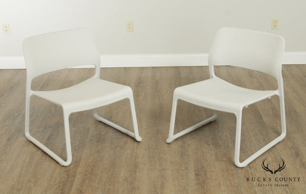 Knoll Chadwick Pair Light Grey Spark Stacking Lounge Chairs