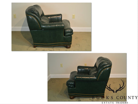 Hancock U0026 Moore Green Leather Club Chair With Ottoman