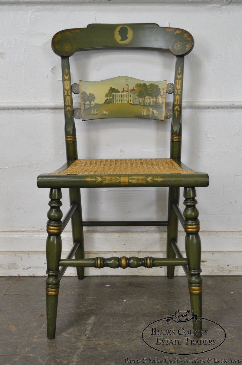 Hitchcock Green Painted George Washington Mount Vernon Cane Seat Side Chair