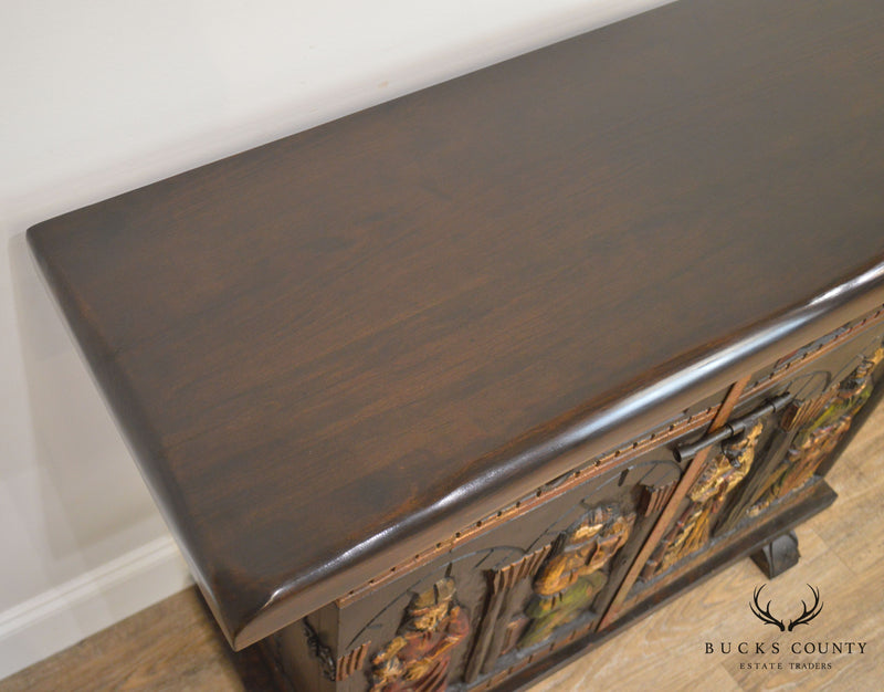 Spanish Renaissance Vintage Carved Console Handmade by Mades