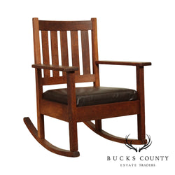 Stickley Brothers Antique Mission Oak Leather Seat Rocker