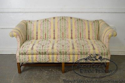 Chippendale Style Striped Upholstered Sofa