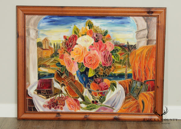 Maya Eventov Large Framed Still Life Original Oil Painting