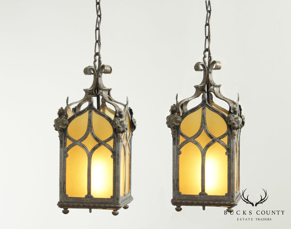 Gothic Revival Vintage Wrought Iron Pair Pendant Lights
