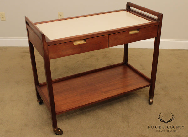 American of Martinsville Walnut Mid Century Modern Server Bar Cart