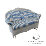 LLoyd Flanders White Wicker Patio Porch Glider Loveseat