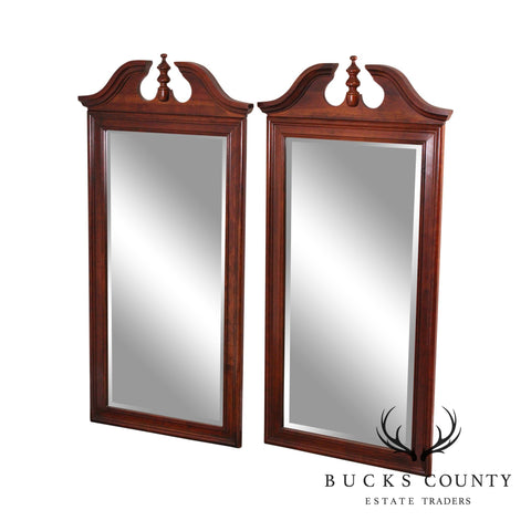 Traditional Pair Solid Cherry Wood Broken Arch Top Beveled Mirrors