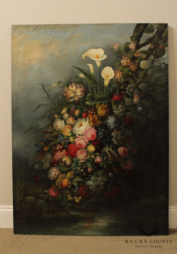 J. P. Barker Antique Still Life Oil Painting on Canvas Flowers