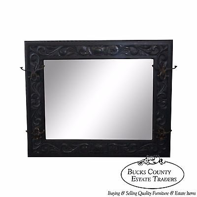 Antique 19th Century Carved Oak Hall Mirror w/ Hat Hooks