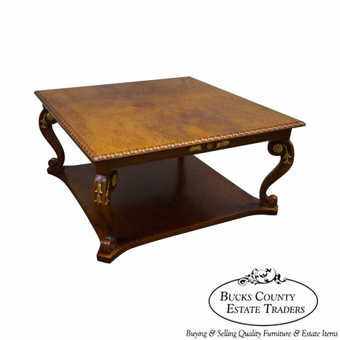 Quality French Louis XV Style Burl Wood Top Square Coffee Table