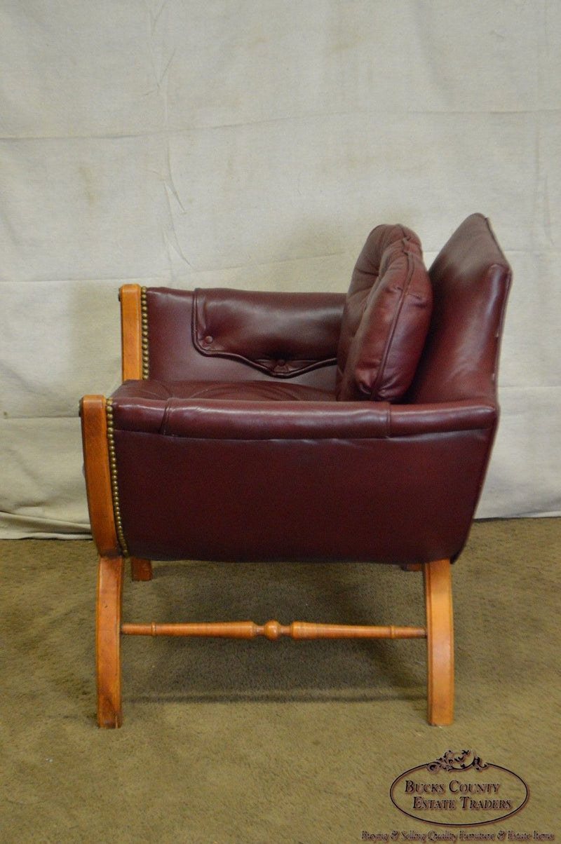 Mid Century Tufted Leather X Base Lounge Chair
