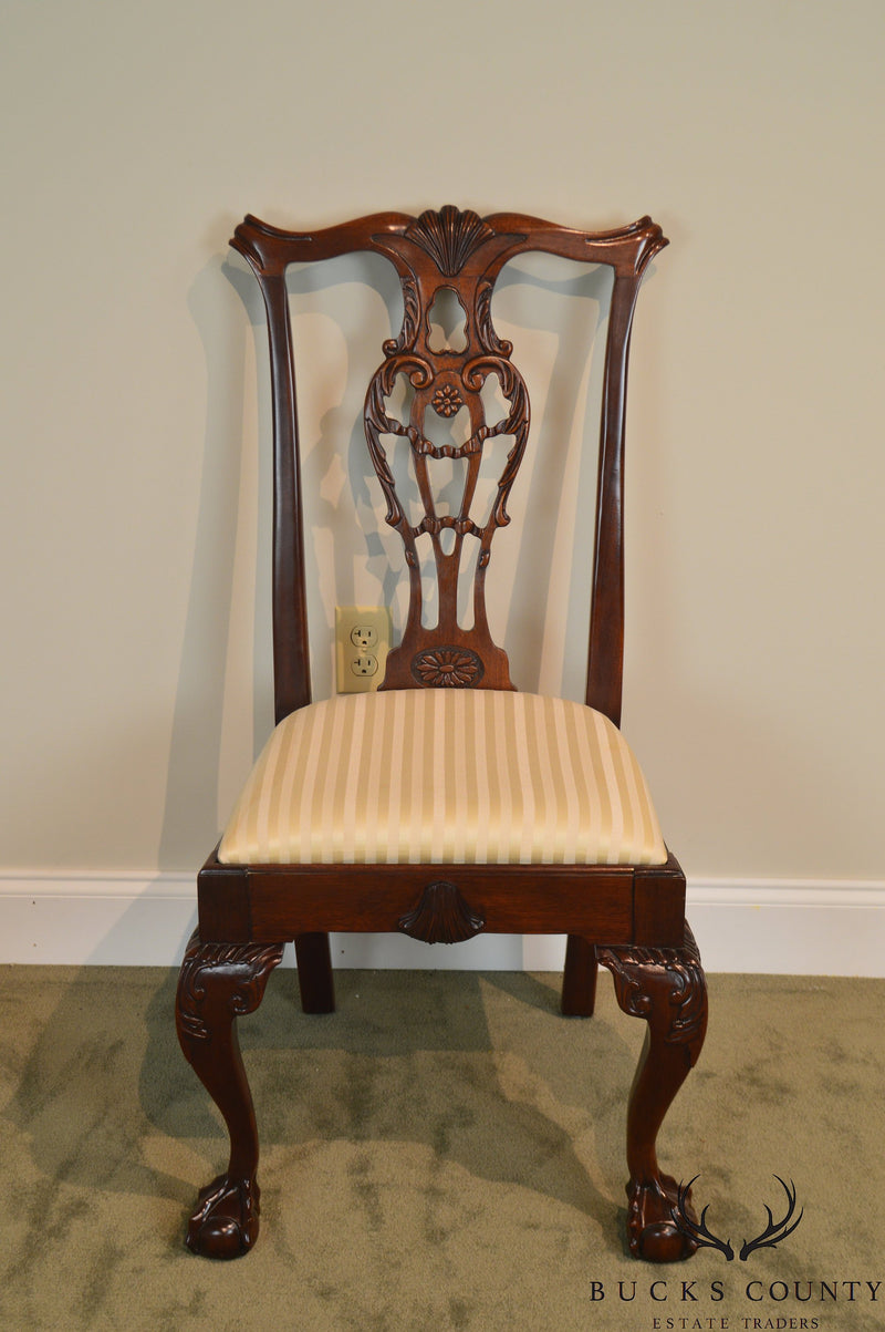 Link Taylor Chippendale Style Set of 6 Ball & Claw Carved Mahogany Chairs
