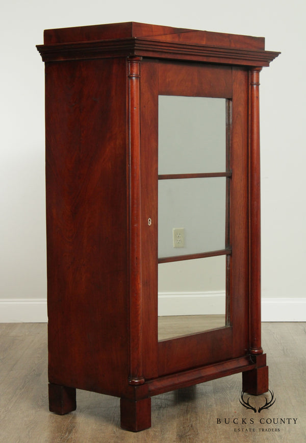 Antique 19th Century Mahogany Biedermeier Style Mirror Door Cabinet