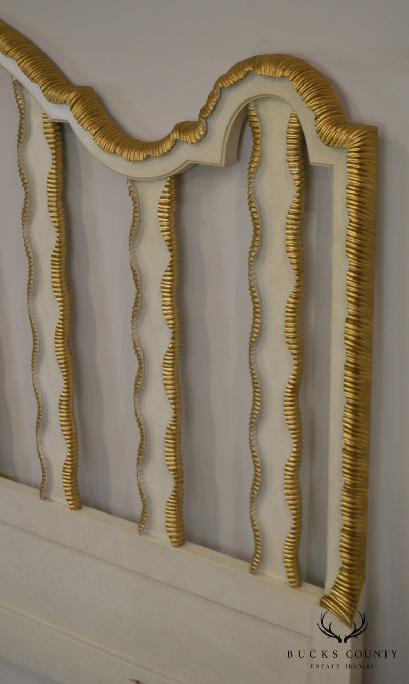 Hollywood Regency Vintage 1960's Partial Gilt Wood Queen Headboard