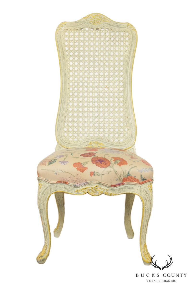 Martin Industries Vintage French Louis XV Style Painted Cane Back Side Chair