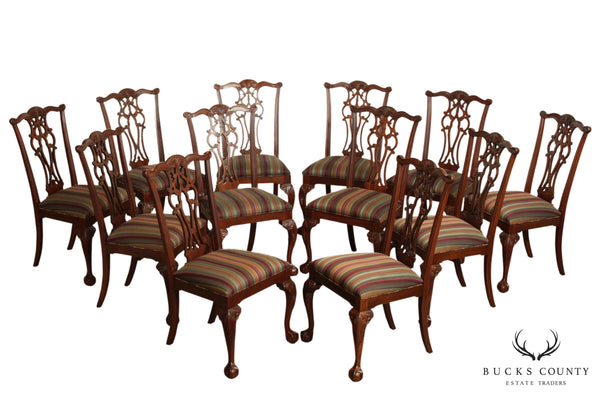 Ethan Allen 18th Century Mahogany Chippendale Set 12 Dinning Chairs