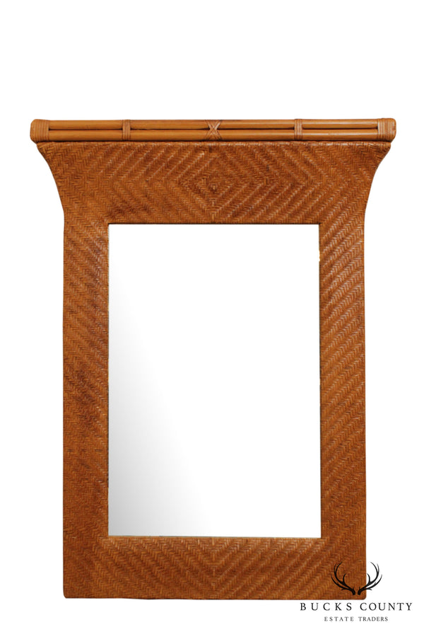 Henredon Rattan & Woven Leather Wall Mirror