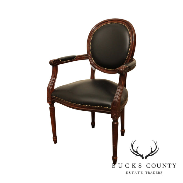 French Louis XVI Style Black Leather Armchair