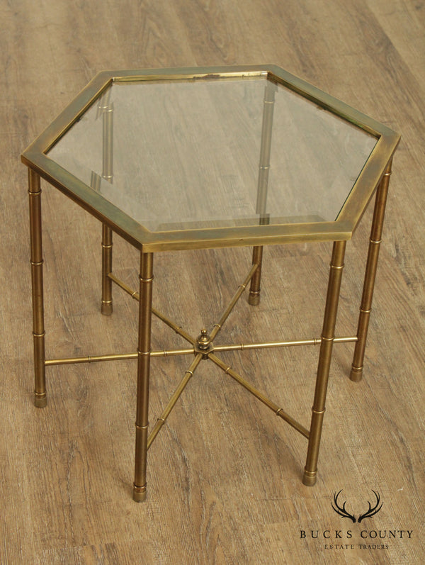 Mastercraft Vintage Brass and Glass Octagon Side Table