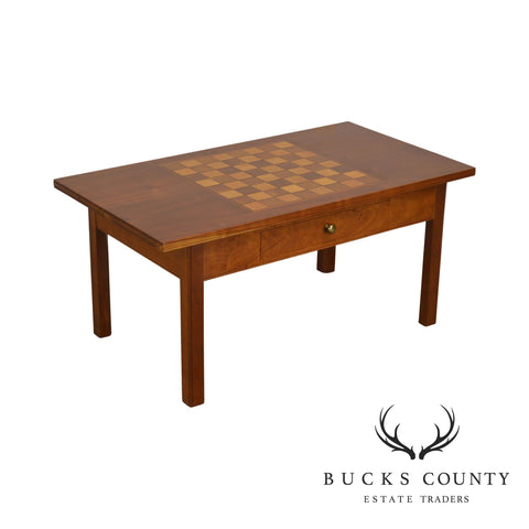 Hand Crafted Solid Cherry Wood Checkerboard Top Game Table by F. G. Harrison III
