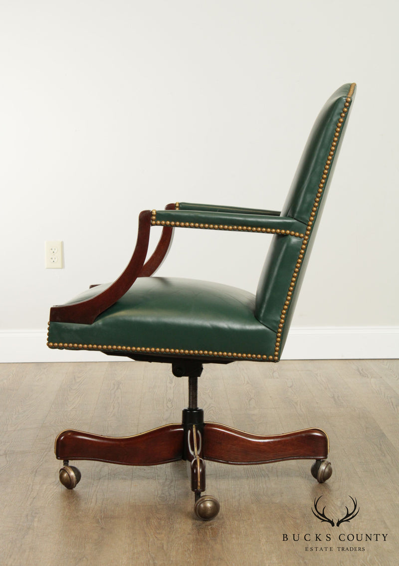 Hickory Chair Mahogany Green Leather Office Desk Chair