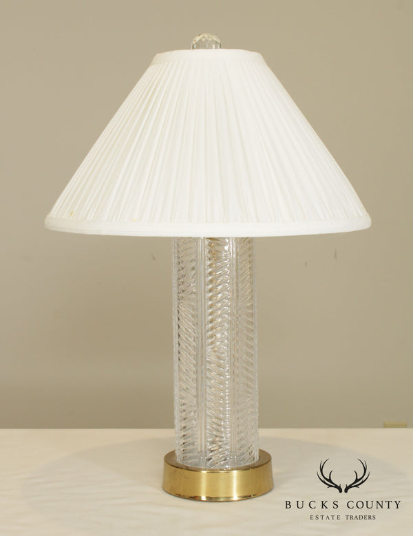 Ribbed Crystal Caluman Table Lamp Brass Base & Stem With Shade