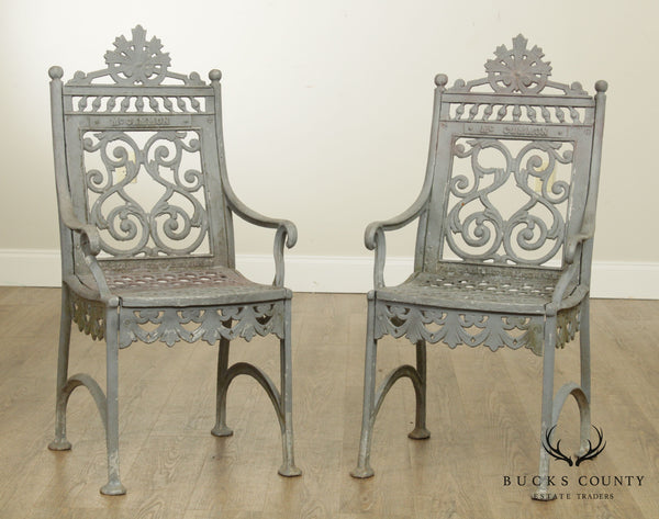 Antique Cast Iron Pair of Garden Cemetary Armchairs, Fred Gensel & Co.