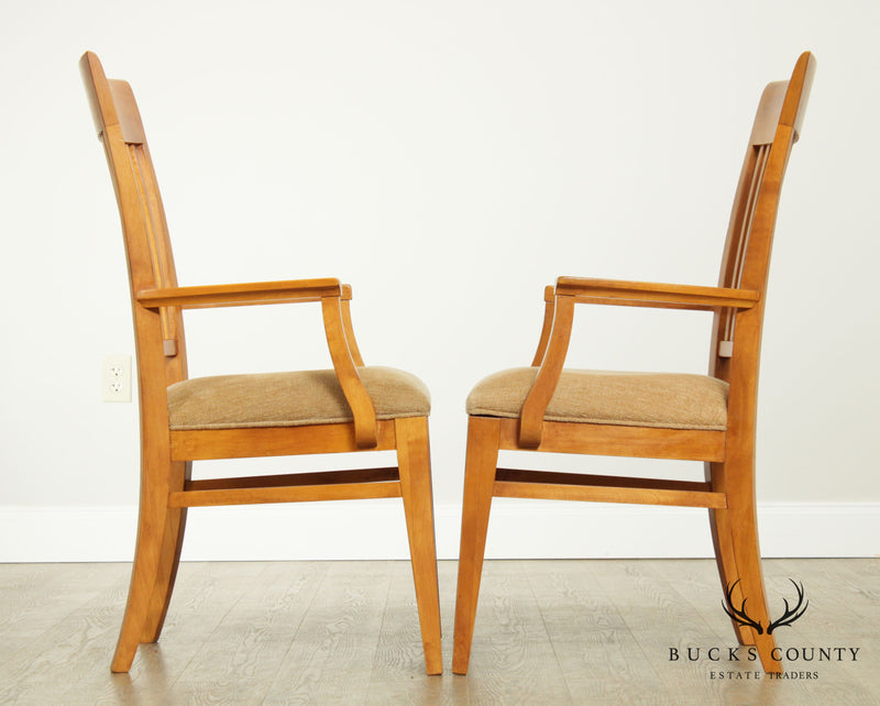 "Ethan Allen ""New Impressions"" Maple Pair Slat Back Armchairs"