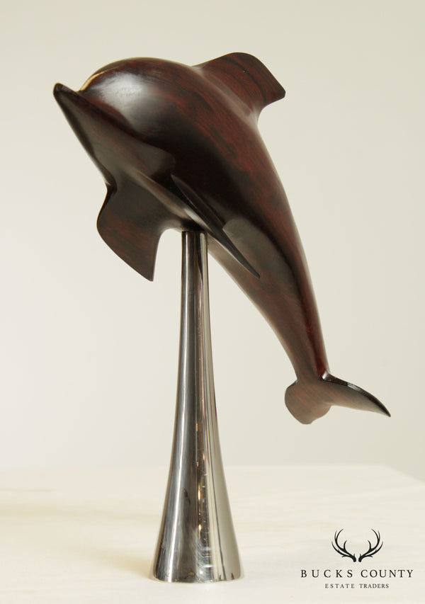 Mid Century Modern Carved Rosewood Dolphin Sculpture on Chrome Base
