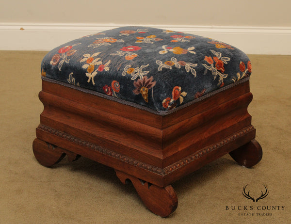 Empire Style Vintage Walnut Storage Foot Stool