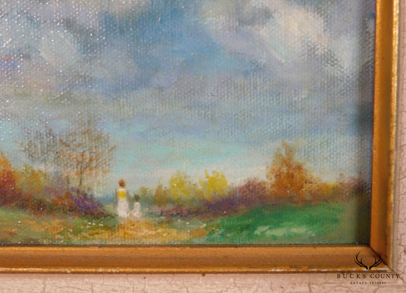 Impressionism Painting, Oil on Wood Panel, Woman and Child Walking Meadow Path & Woods