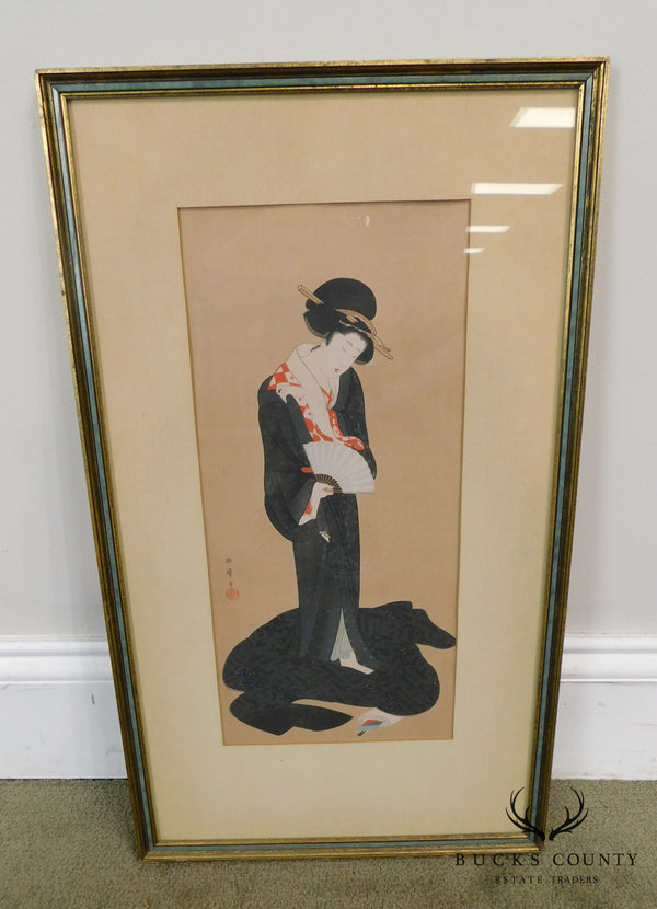 """A Beauty Dressing in Summer"" After Kitagawa Utamara, Woodblock Print"