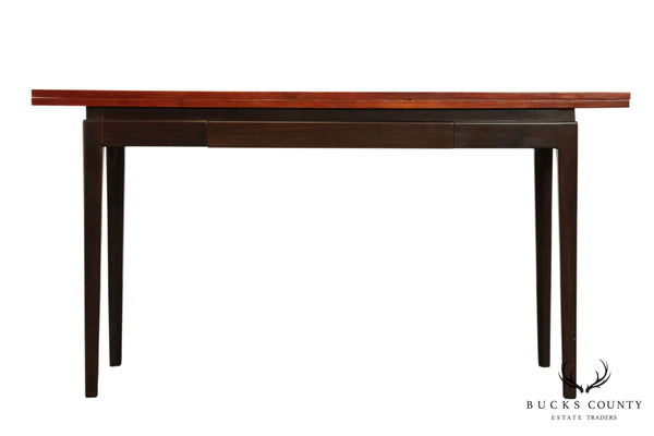 Mid Century Modern Teak & Rose Flip Top Console Table (B)