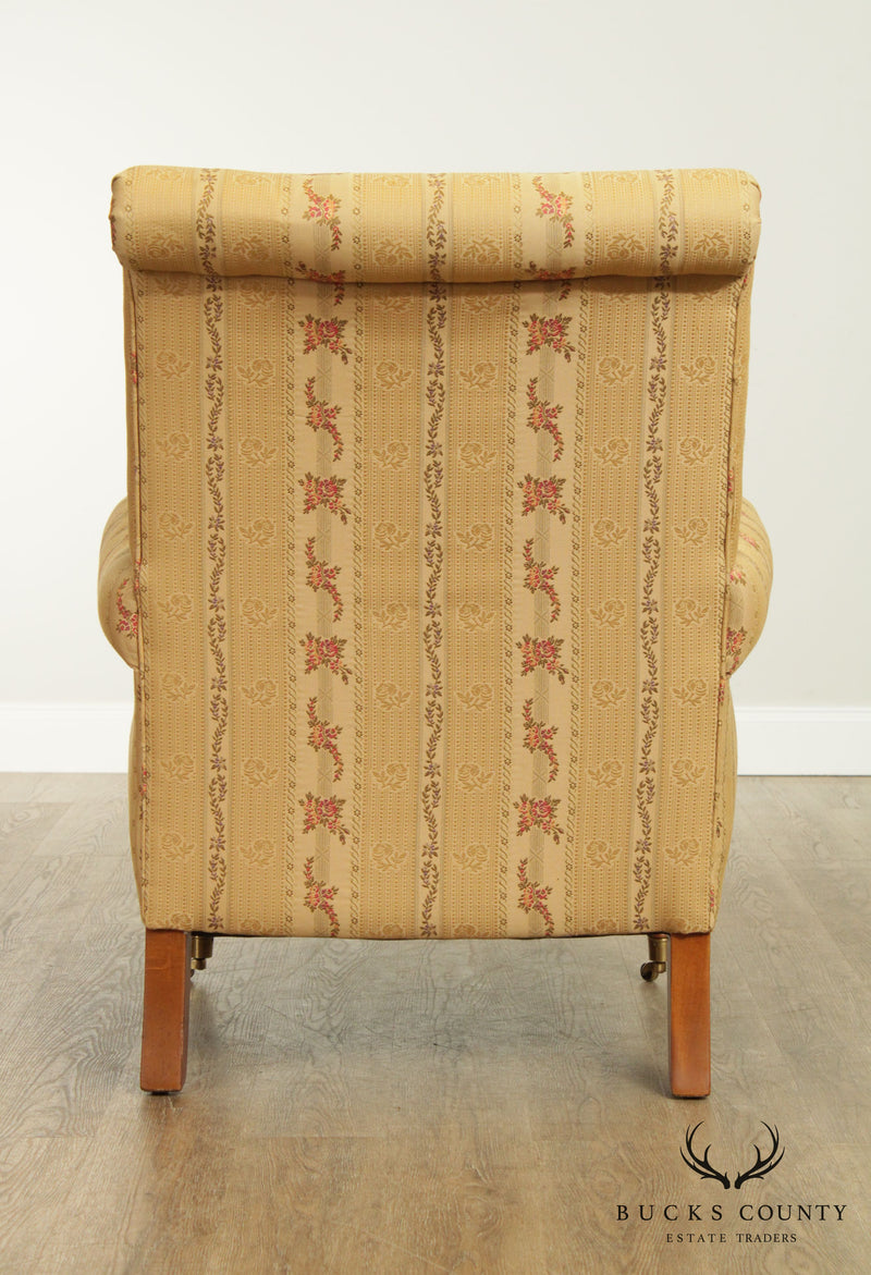 Ethan Allen English Regency Style Pair Upholstered Armchairs