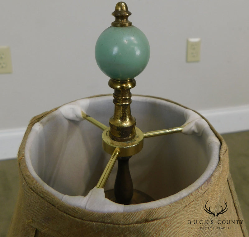 Vintage French Green Pottery Vase Lamp with Shade
