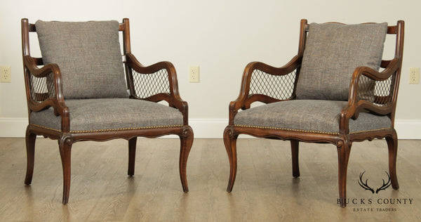French Regency Style Custom Pair Vintage Bergere Chairs