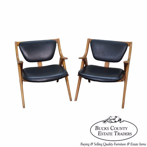 Mid Century Modern Pair of Teak Sawbuck Lounge Chairs