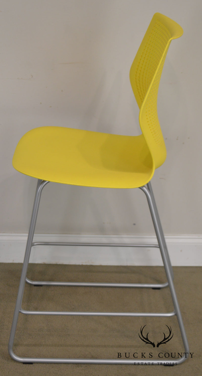Knoll Multigeneration Set of 3 Yellow Counter Stools