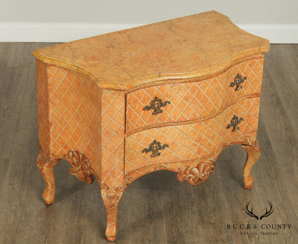 Italian Rococo Style Hand Painted Serpentine Commode Chest